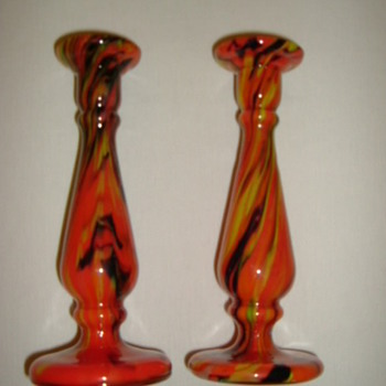 Czech Art Deco Candlesticks - Art Glass