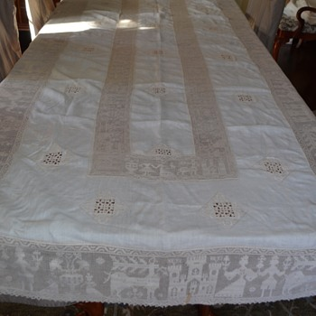 Gorgeous lace tablecloth Belgian? French?