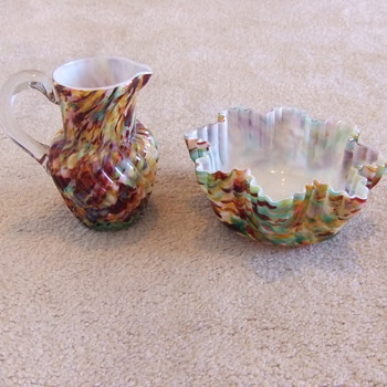 Victorian Art glass cream pitcher and waste bowl
