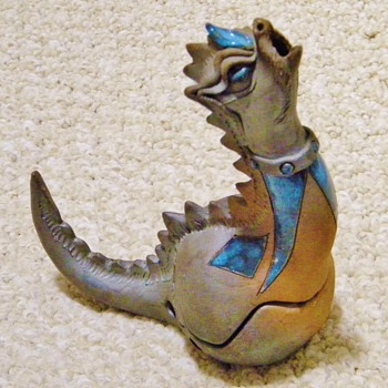 Vintage Arts & Craft Dragon Cermic Incense Burner Signed  HELP!!! - Art Pottery