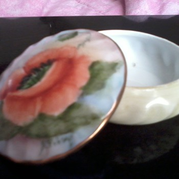Hand Painted Trinket Dish By: A. Filey?