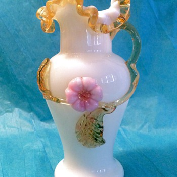 Victorian Harrach  Applied Handle Vase