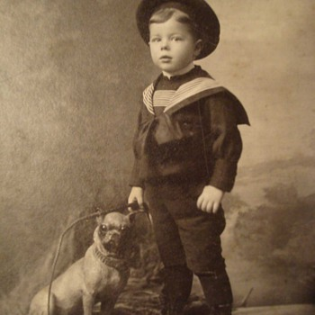 Cracker Jack Box Boy and His Pug Dog on a Cabinet Card