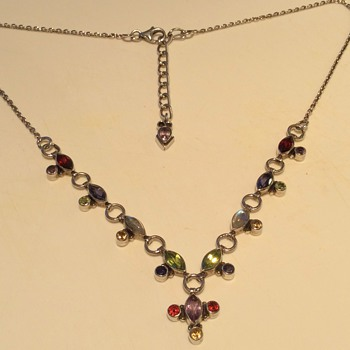 Silver Necklace with multi stones
