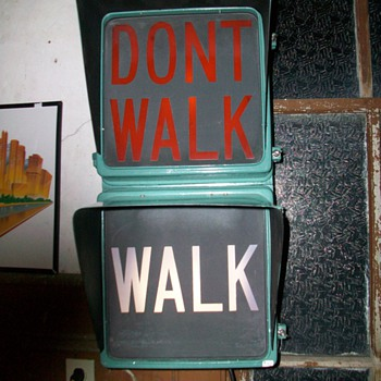 Vintage Walk, Don't walk street sign light - Signs