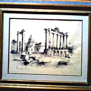 "Original Ink Sketch 23"" x 20"" Framed /Titled ""Rome-Foro Romeus ""/Signed Unknown/Circa 20th Century - Fine Art"