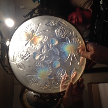 Old Opalescent Platter with Ormolu Frame and Handles- Need Help