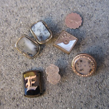 More old 1900's-1960's cufflinks, buttons and 2 favorite tie clips - Accessories