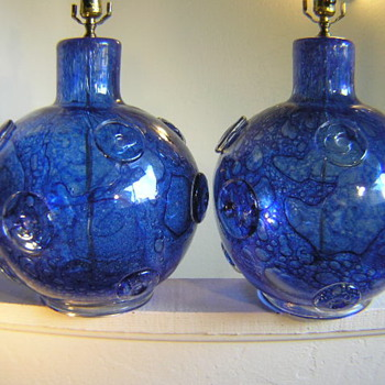 Matching pair of Murano glass lamps by Ercole Barovier in the Efeso technique - Art Glass