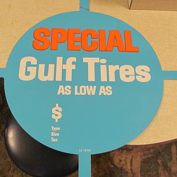 Gulf N.O.S. tin tire display sign - Advertising