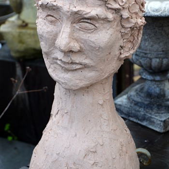 Another Head Planter - this one handmade - Art Pottery