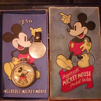 1936-37 Mickey Mouse Pocket Watch and Packaging - Pocket Watches