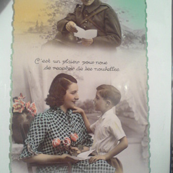 An old card which dates back to those days when fathers had to leave their families and go to war...