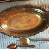 Silver Tray and Cold Meat Fork & Teaspoon