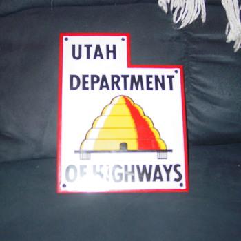 vintage utah road sign