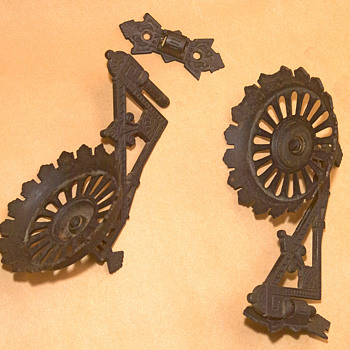 Eastlake Cast Iron oil lamps holders, Castiron hook