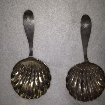 Pair of Coin Silver Tea Strainers- Marked J A Morlenhoff - Sterling Silver