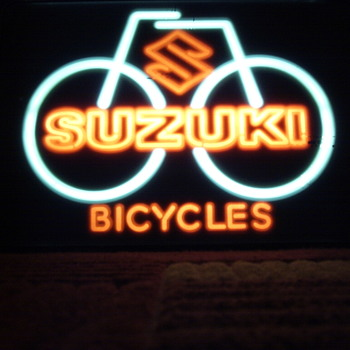 Suzuki Bicycle Lighted Shop Sign - Signs