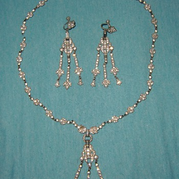 Vintage Necklace and Earrings - Art Deco