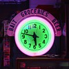Electric Neon Clock Company...Two Colors...Cut Out Wood Letters In Top Sign...Bait...Groceries...Beer