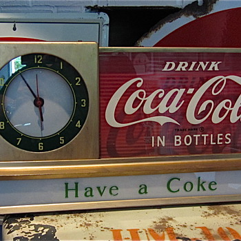 1950s Coca Cola Light-up Counter Clock Sign