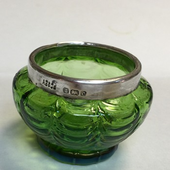 Art glass salt, silver rim