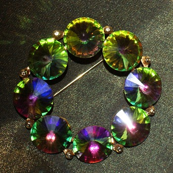 Rainbow Rivoli Pin - Costume Jewelry