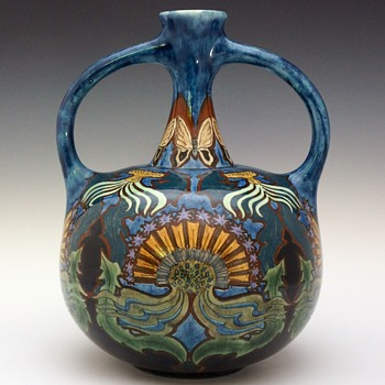 1896 Rozenburg Earthenware Handled Vase - Art Nouveau