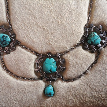 Liberty & Co. Turquoise Silver Necklace, probably by Jessie M. King c. 1900 - Fine Jewelry