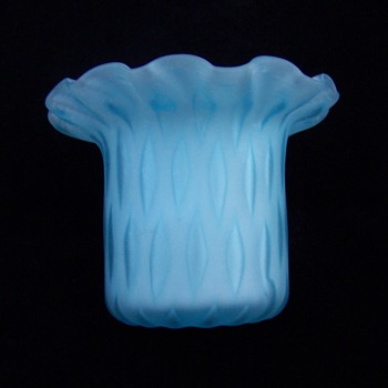 Murano Blue MOP Diamond Quilt Ruffled Edge Toothpick Holder