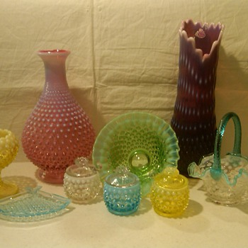 COLLECTION OF SOME OF MY PIECES OF FENTON HOBNAIL - Glassware