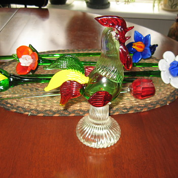 Glass Flowers ..And A Little Rooster .. - Art Glass