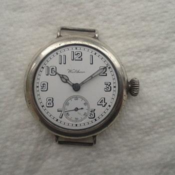 Waltham 1915 WW1 silver wrist watch, Harold G. Hiley. - Wristwatches