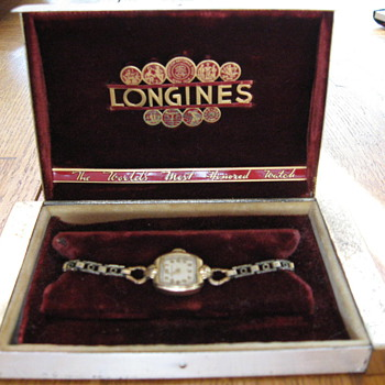 Grandmother's Antique Longines Wristwatch With Case - Wristwatches