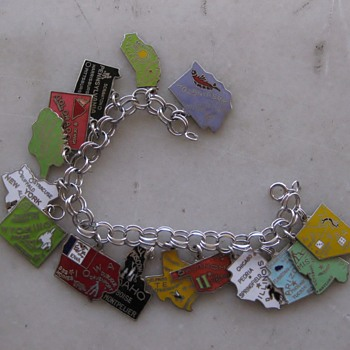 Segregation of states! 1960's-70's enamel state charm bracelets - Costume Jewelry
