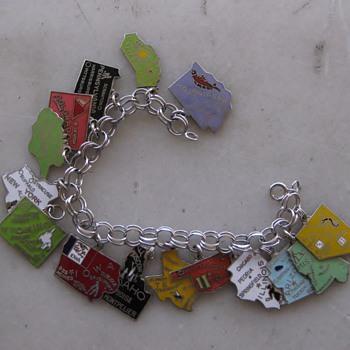 Segregation of states! 1960's-70's enamel state charm bracelets