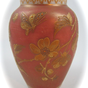 Harrach Enameled Custard Glass vase, ca. 1890 - Art Glass