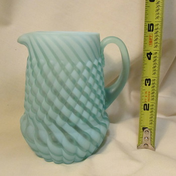 Picture vase, baby blue and white glass  - Glassware