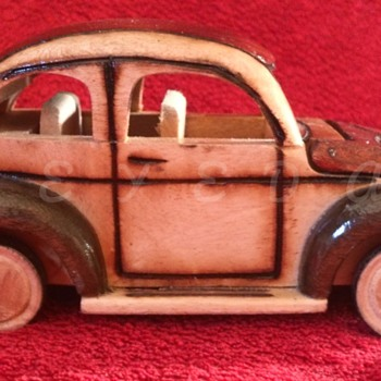 Hand crafted Wooden Volkswagen Beetle with Rolling Wheels  - Model Cars