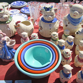 Shawnee Pottery Piggie Cookie Jars and Salt Shakers at Alameda - Beautiful - Kitchen