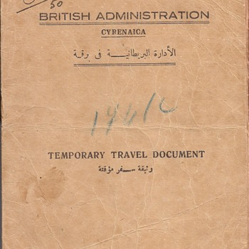 1949 British Military Administration issued travel document from Libya