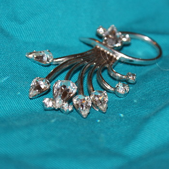 Jay Flex Sterling and Rhinestone Brooch