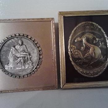 Framed metal art pieces