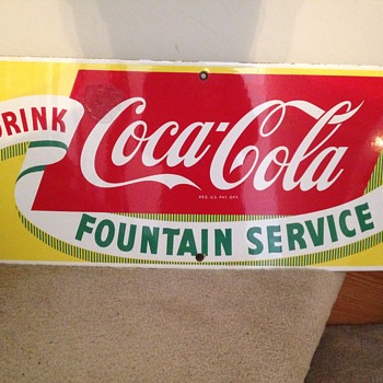 1950 Fountain Service Coca-Cola Sign