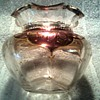 Beautiful Little Rose Iridescent and Gold Gilt Vase / Ruffle Top Melon Shape Hand Blown Glass / Unknown Maker and Age