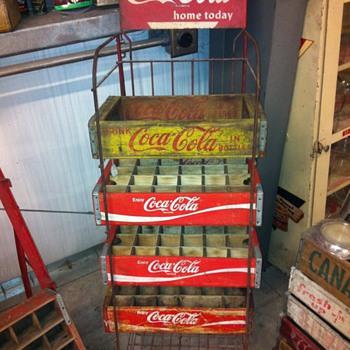 Coca Cola wooden crate rack. - Coca-Cola