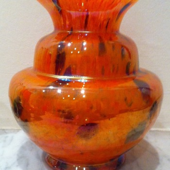 Iridescent Art Deco spatter glass vase - Art Glass