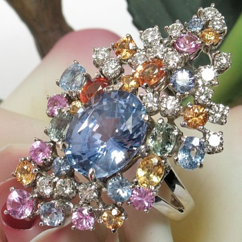 Huge Unheated Ceylon Sapphire Diamond Ring - Fine Jewelry