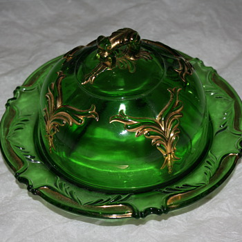 Green Glass Butter Dish