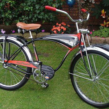 Kevin's unrestored original 1956  B F Goodrich Schwinn Built Black Phantom - Outdoor Sports